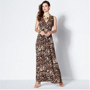 Iman Global Chic Leopard Maxi Dress sz XL